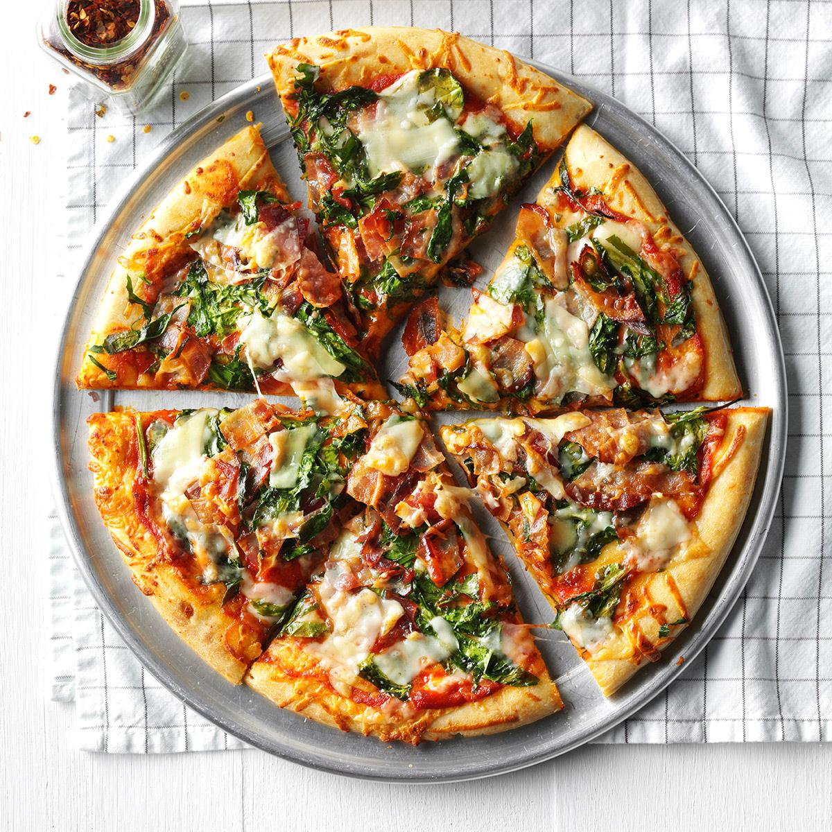Bacon and Spinach Pizza image