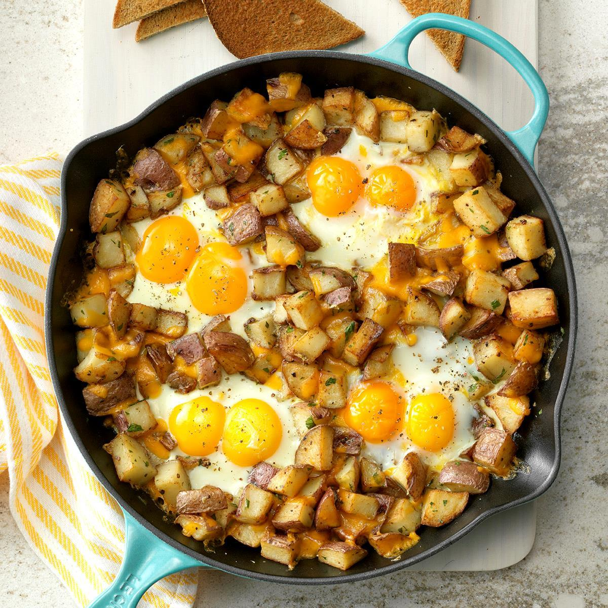 Baked Cheddar Eggs Potatoes Recipe Taste Of Home
