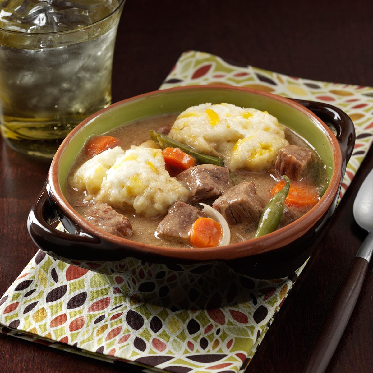 Beef Stew With Cheddar Dumplings Recipe How To Make It Taste Of Home