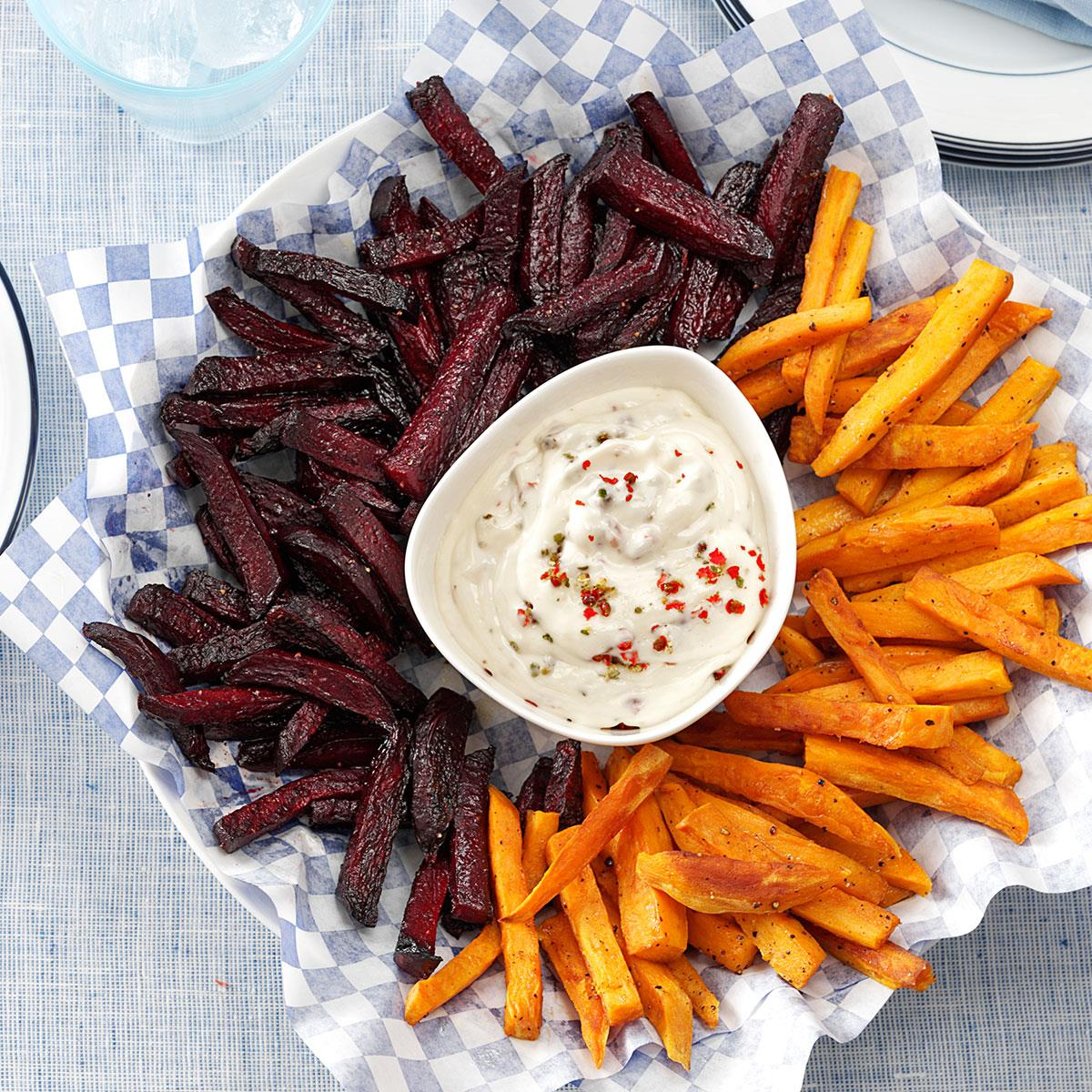 Beet And Sweet Potato Fries Recipe How To Make It Taste Of Home