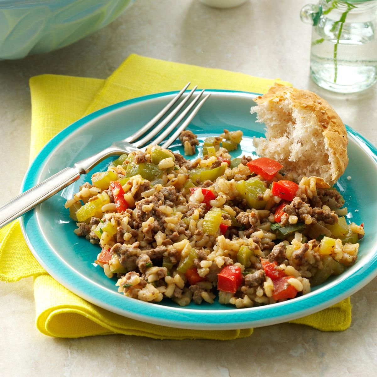 Cajun Beef Rice Recipe Taste Of Home