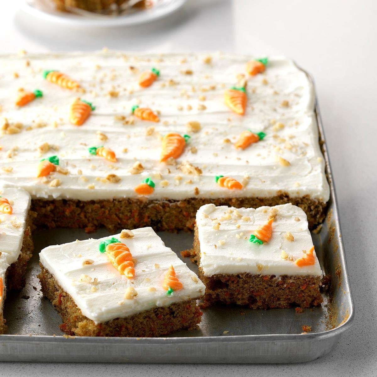 Surprising Carrot Sheet Cake Recipe Taste Of Home Funny Birthday Cards Online Elaedamsfinfo