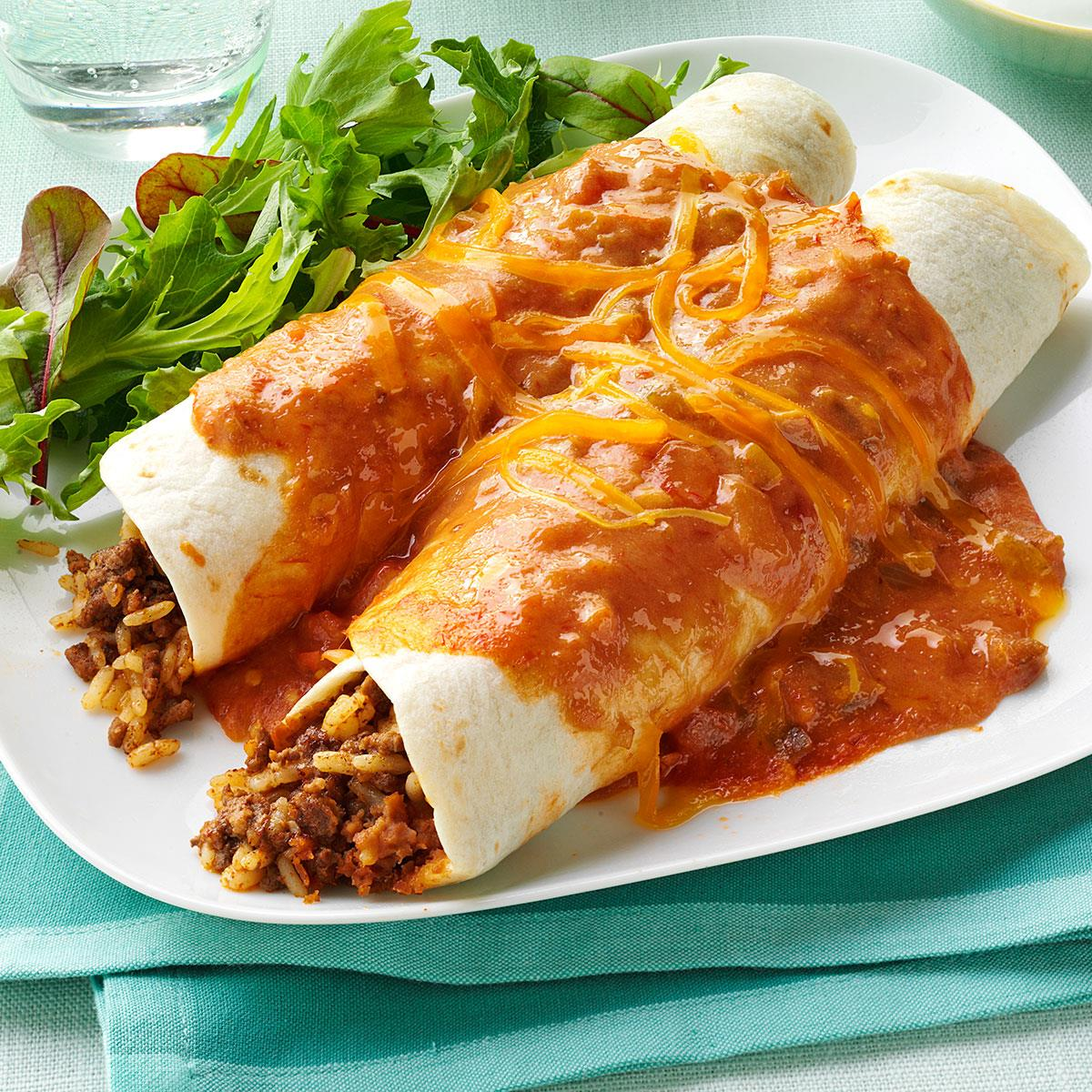 Cheddar Beef Enchiladas Recipe How To Make It Taste Of Home