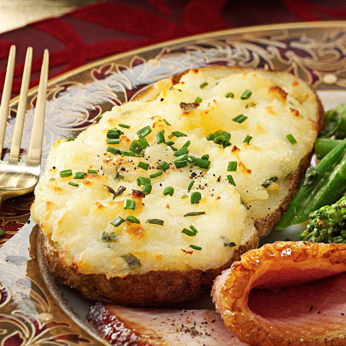 Cheese Stuffed Twice Baked Potatoes Recipe How To Make It Taste Of Home
