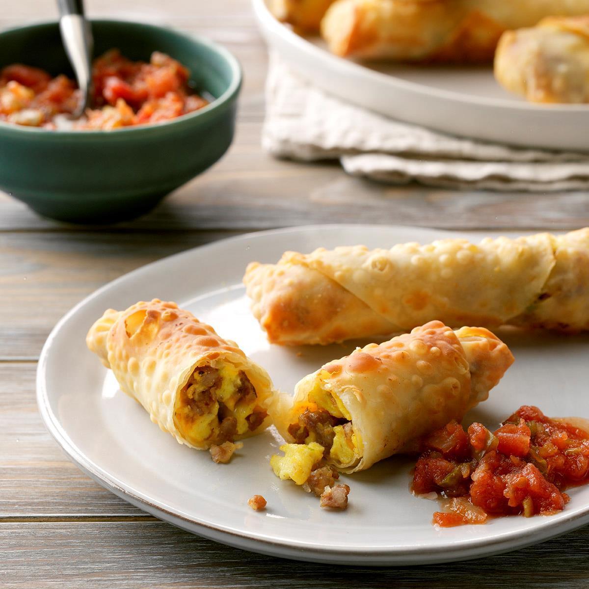Cheesy Breakfast Egg Rolls Recipe How To Make It Taste Of Home