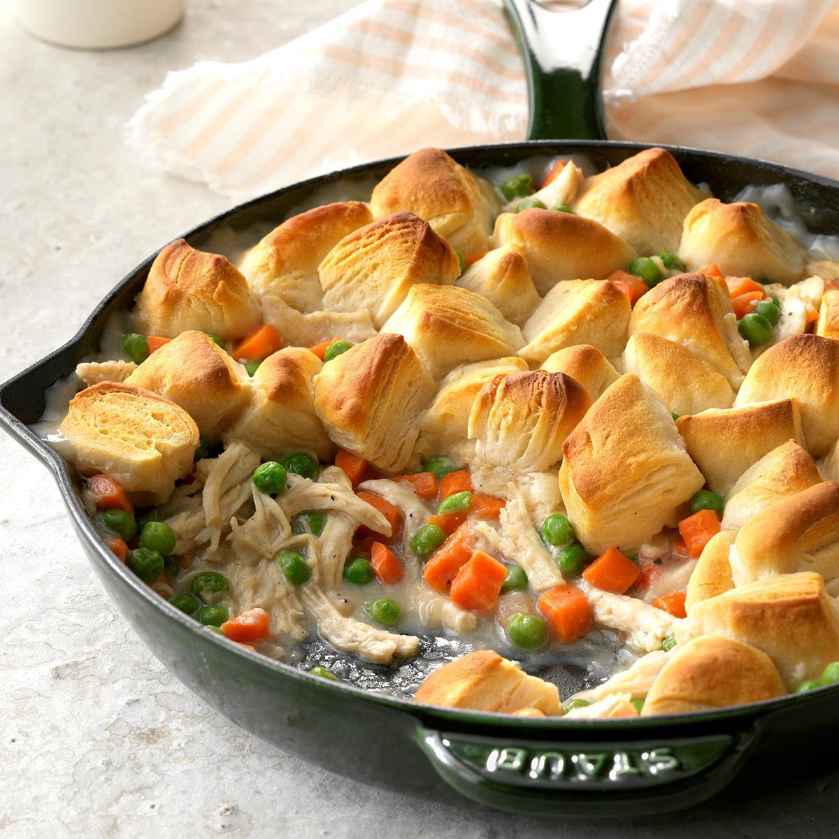 Chicken Biscuit Skillet Recipe | Taste of Home