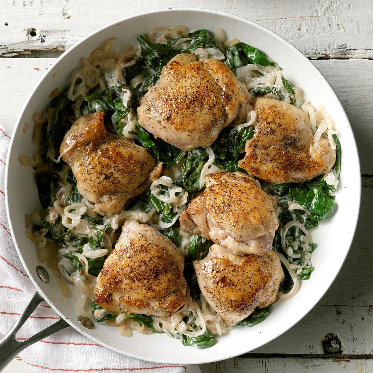 Chicken Thighs with Shallots & Spinach image