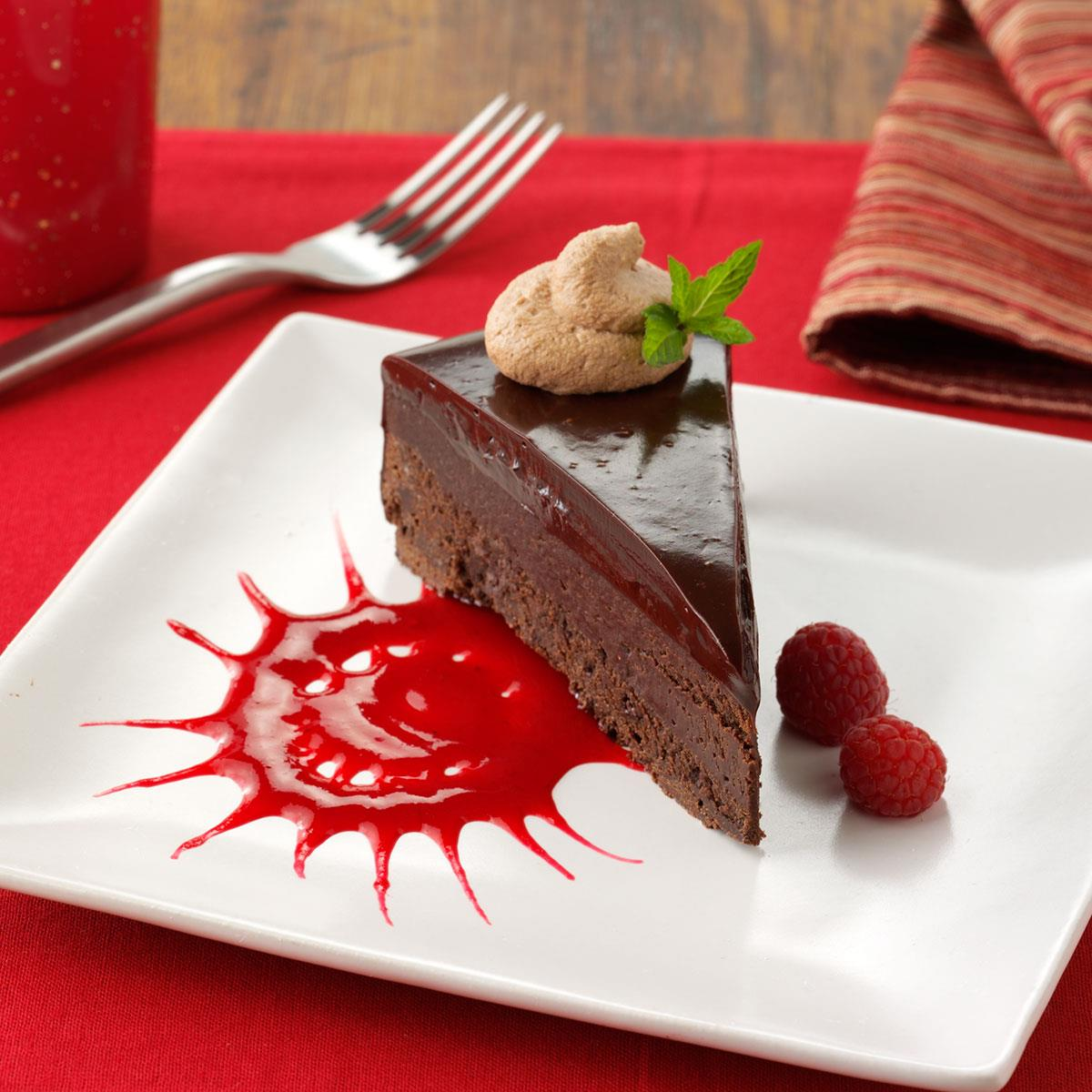 Chocolate Ganache Cake With Raspberry Sauce Recipe How To Make It Taste Of Home