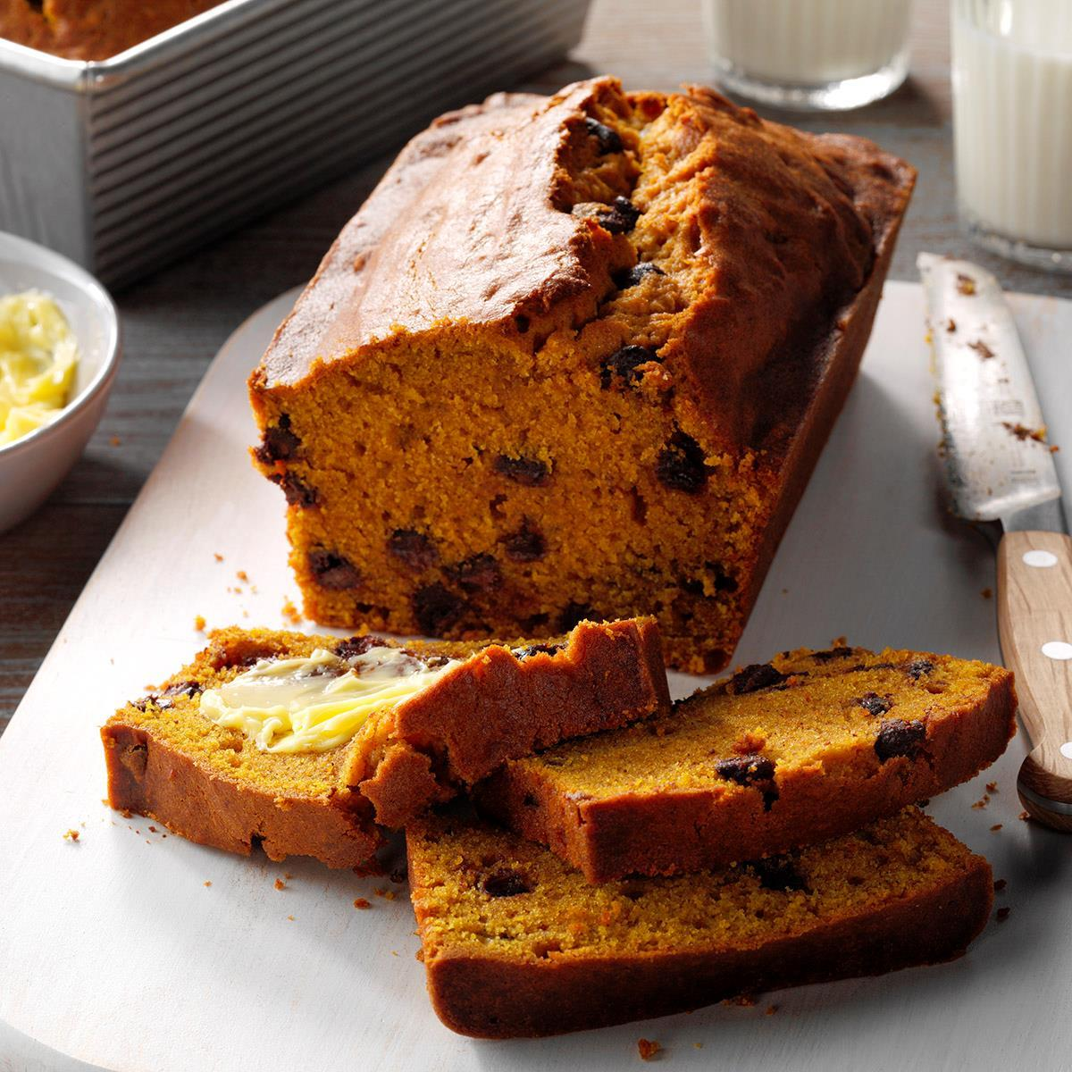 Contest Winning Chocolate Chip Pumpkin Bread Recipe How To Make It Taste Of Home