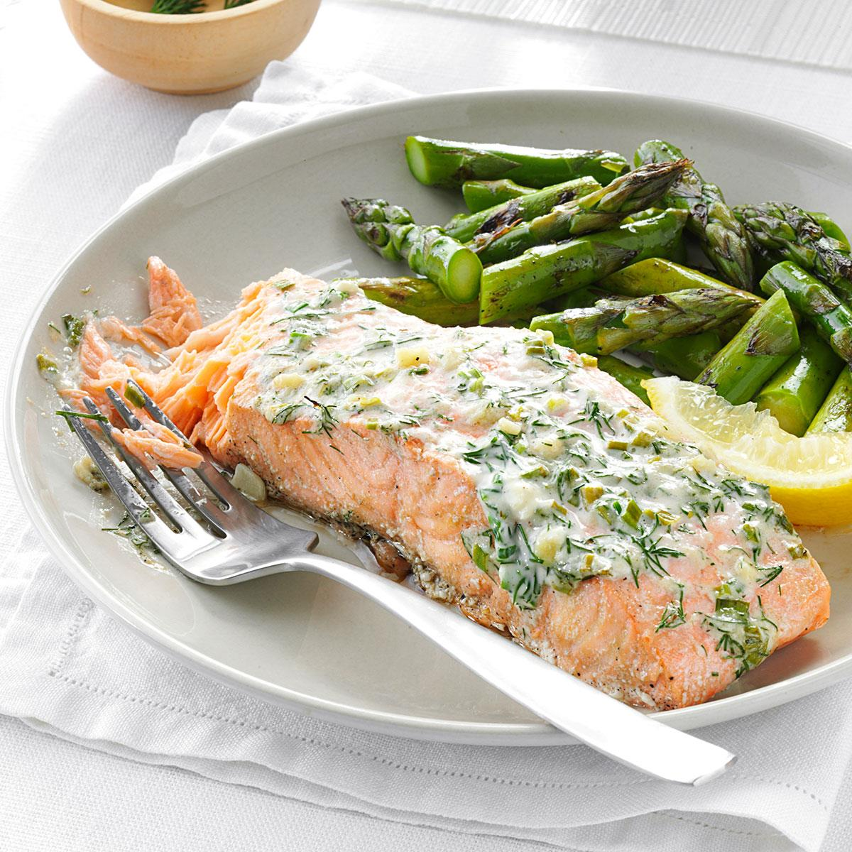 Creamy Herb Grilled Salmon Recipe How To Make It Taste Of Home