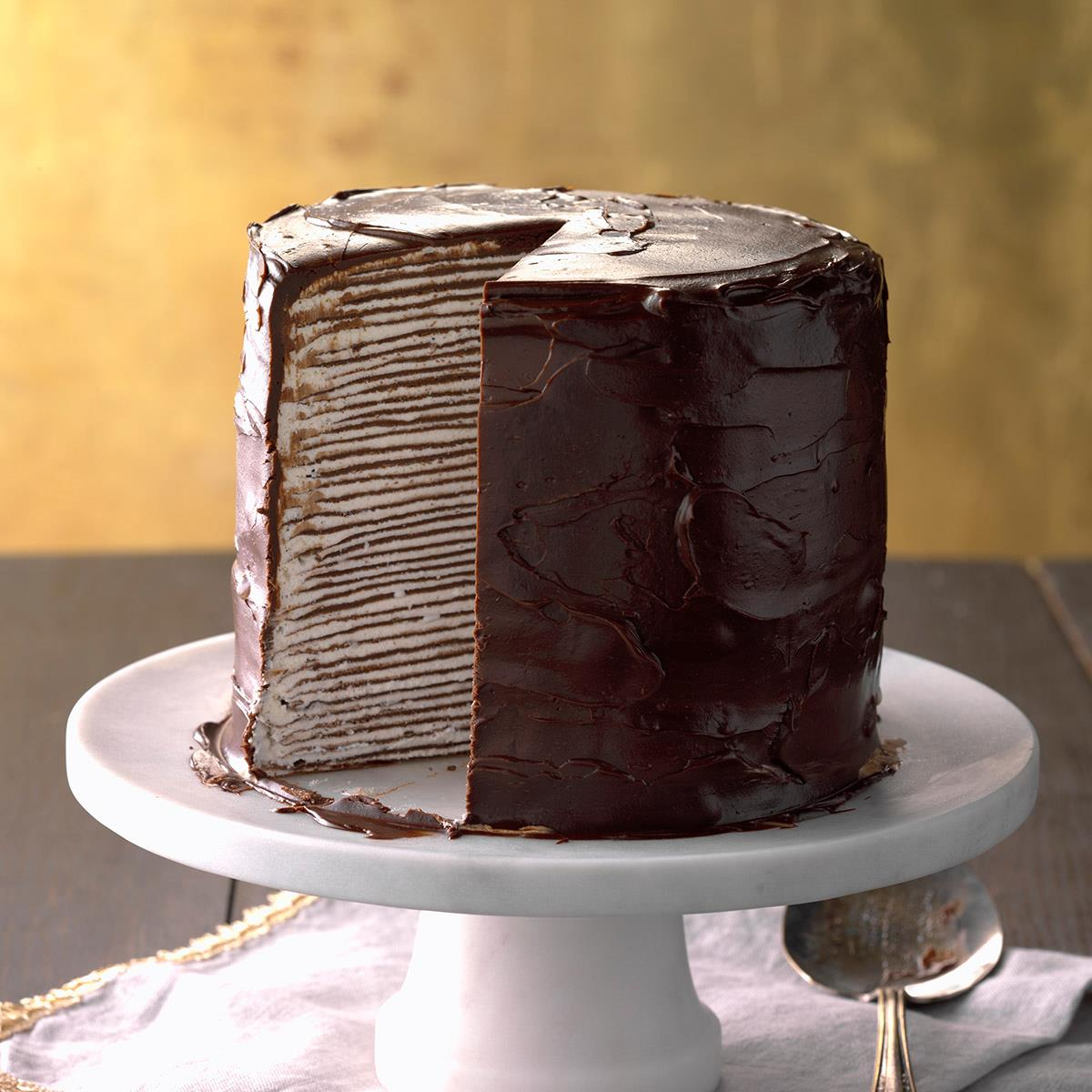 Decadent Chocolate Crepe Cake Recipe How To Make It Taste Of Home