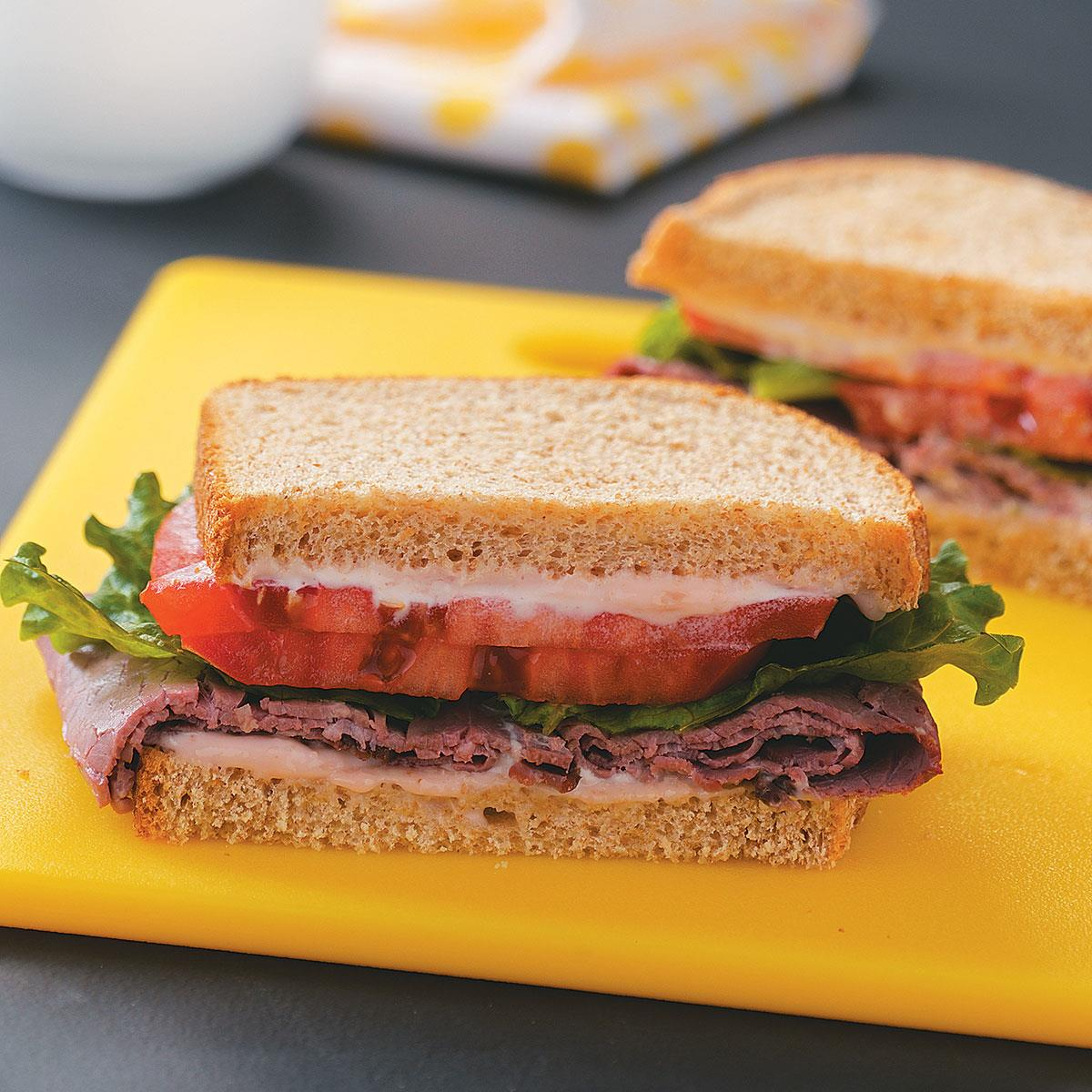 Deli Beef Sandwiches With Horseradish Mayonnaise Recipe How To Make It Taste Of Home