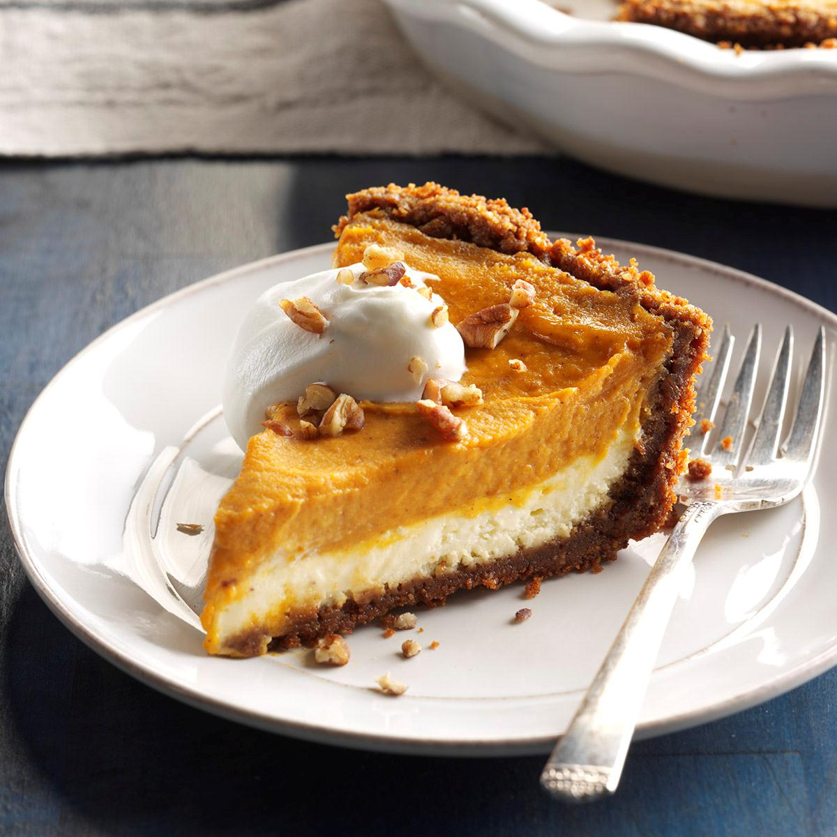 Double Layer Pumpkin Cheesecake Recipe How To Make It Taste Of Home