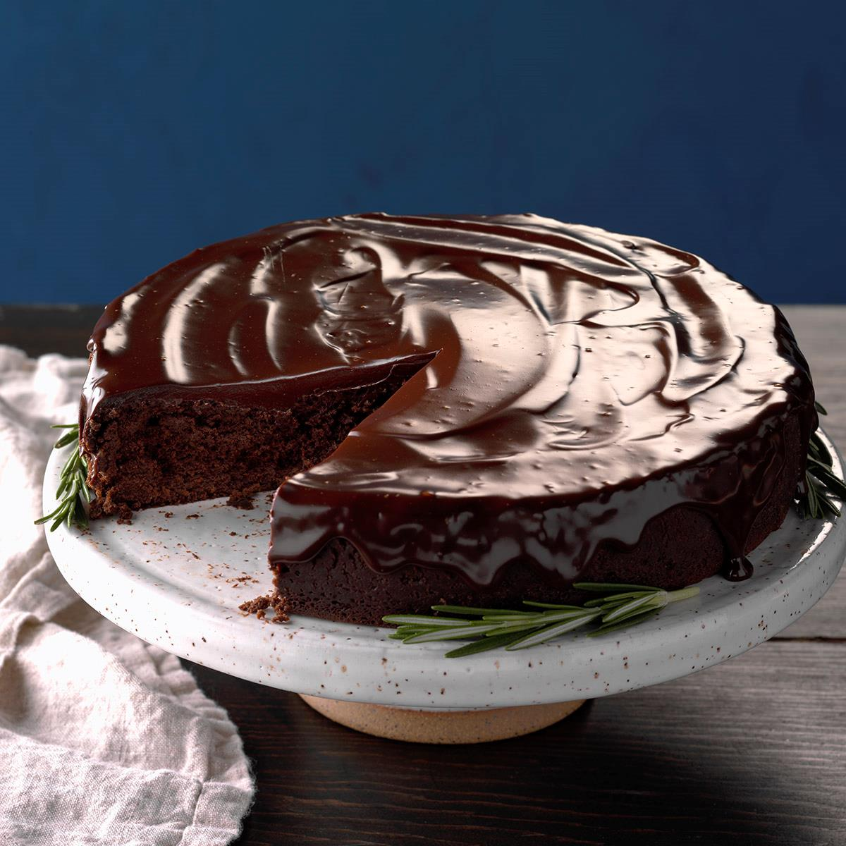 Flourless Chocolate Cake With Rosemary Ganache Recipe How To Make It Taste Of Home