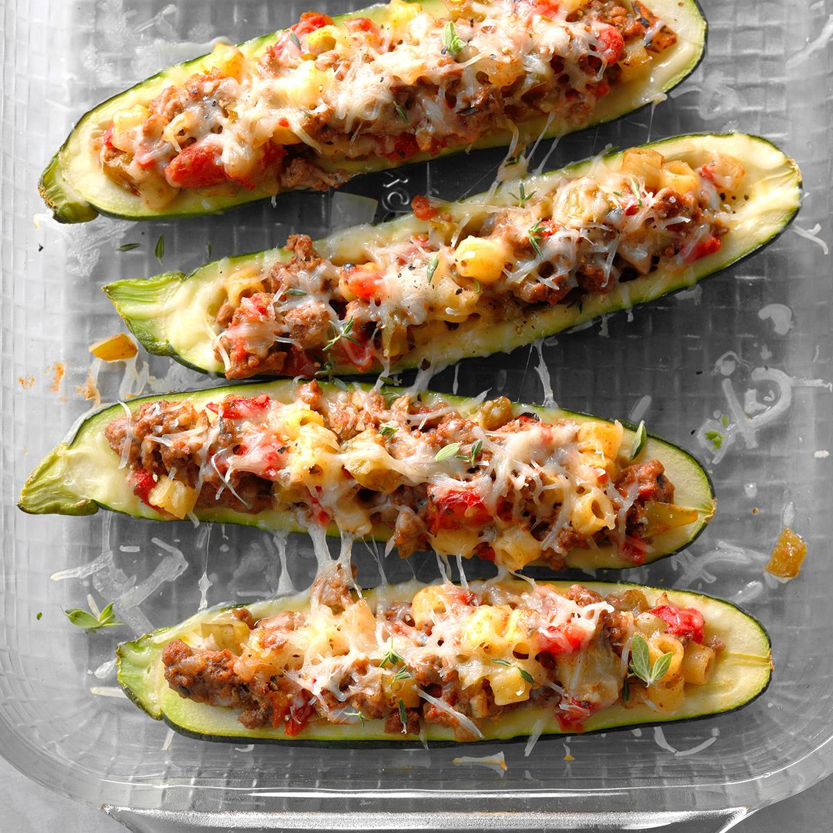 Garden Stuffed Zucchini Boats Recipe How To Make It Taste Of Home