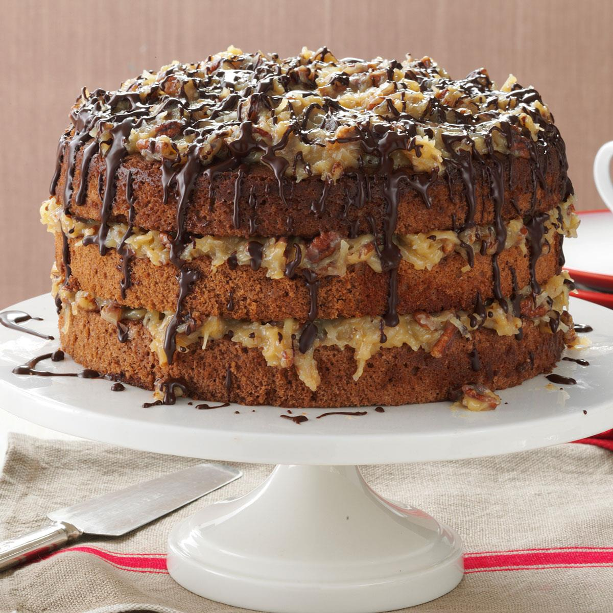Awesome German Chocolate Cake Recipe Taste Of Home Birthday Cards Printable Riciscafe Filternl