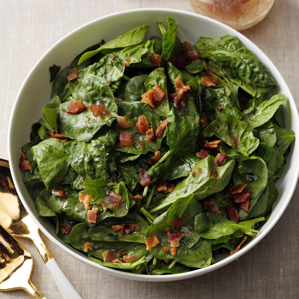 Hearty Spinach Salad With Hot Bacon Dressing Recipe How To Make It Taste Of Home