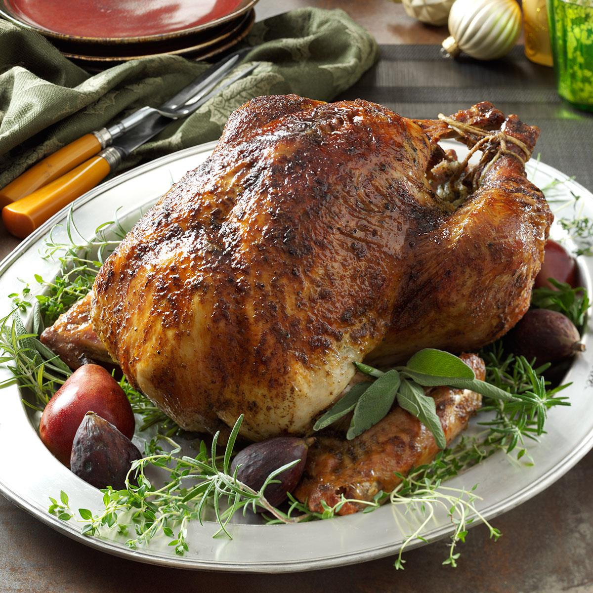 herb brined turkey recipe how to make it taste of home herb brined turkey
