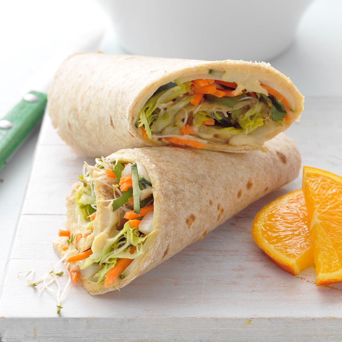 Hummus & Veggie Wrap-Up Recipe: How to Make It   Taste of Home