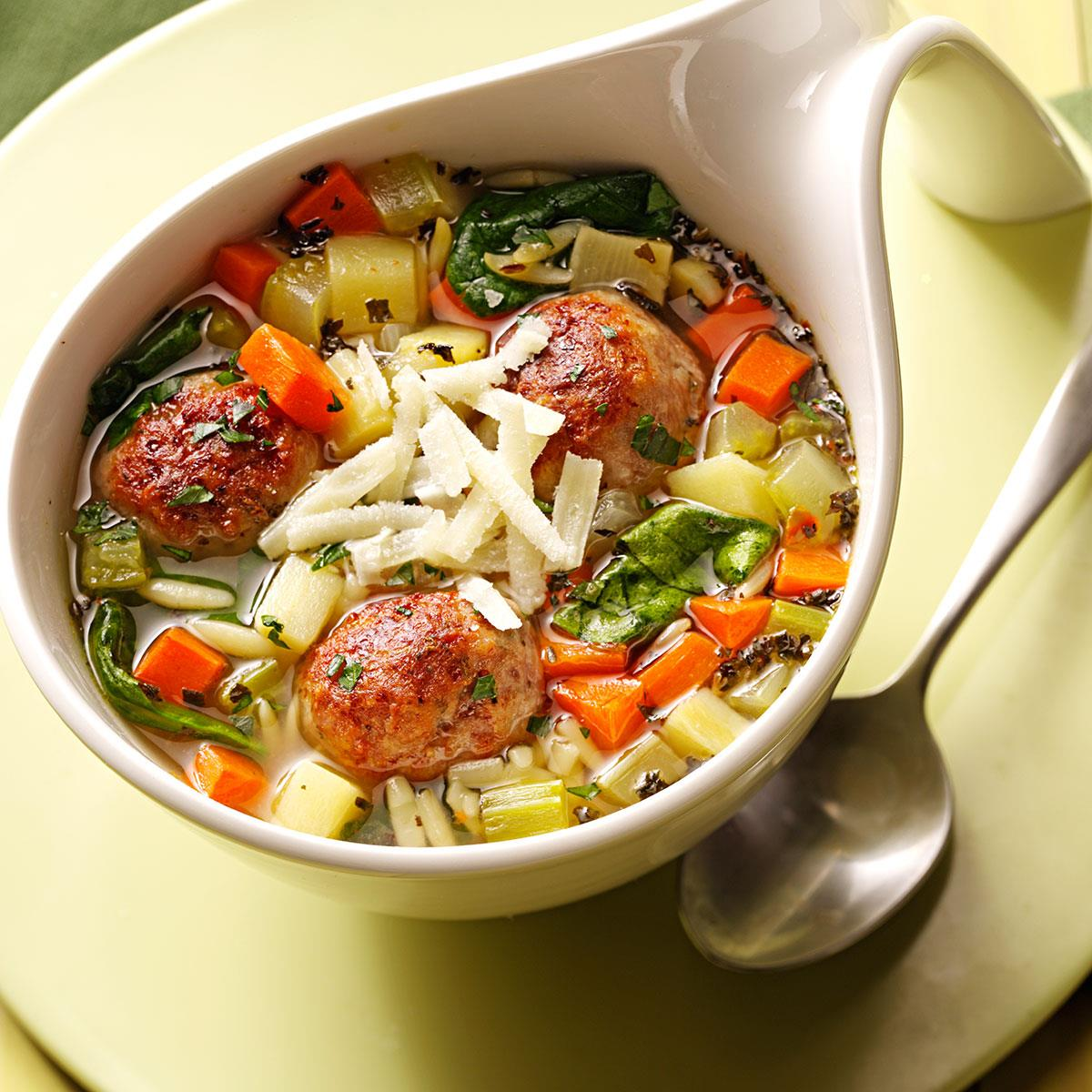 Italian Wedding Soup With Meatballs Recipe How To Make It Taste Of Home