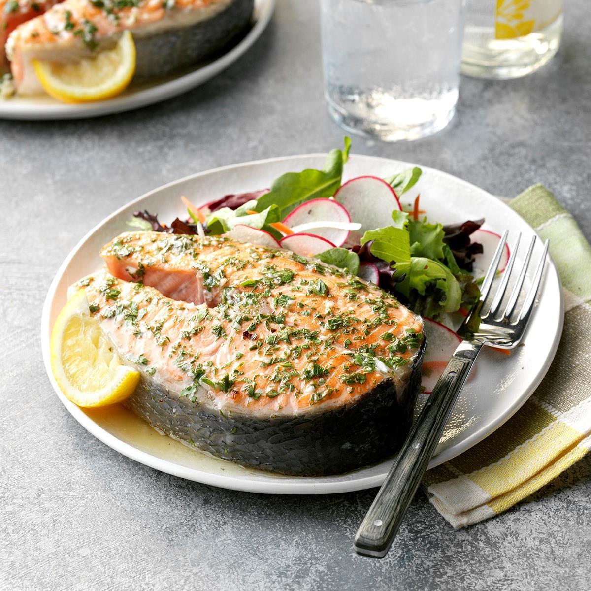 Lemon-Garlic Salmon Steaks