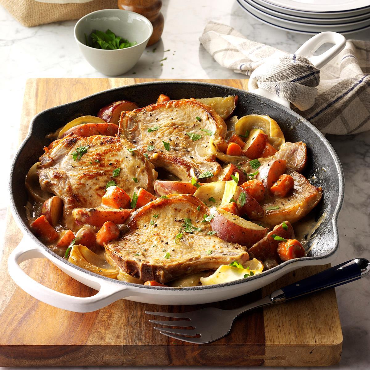 pork chop potato skillet recipe One-Skillet Pork Chop Supper