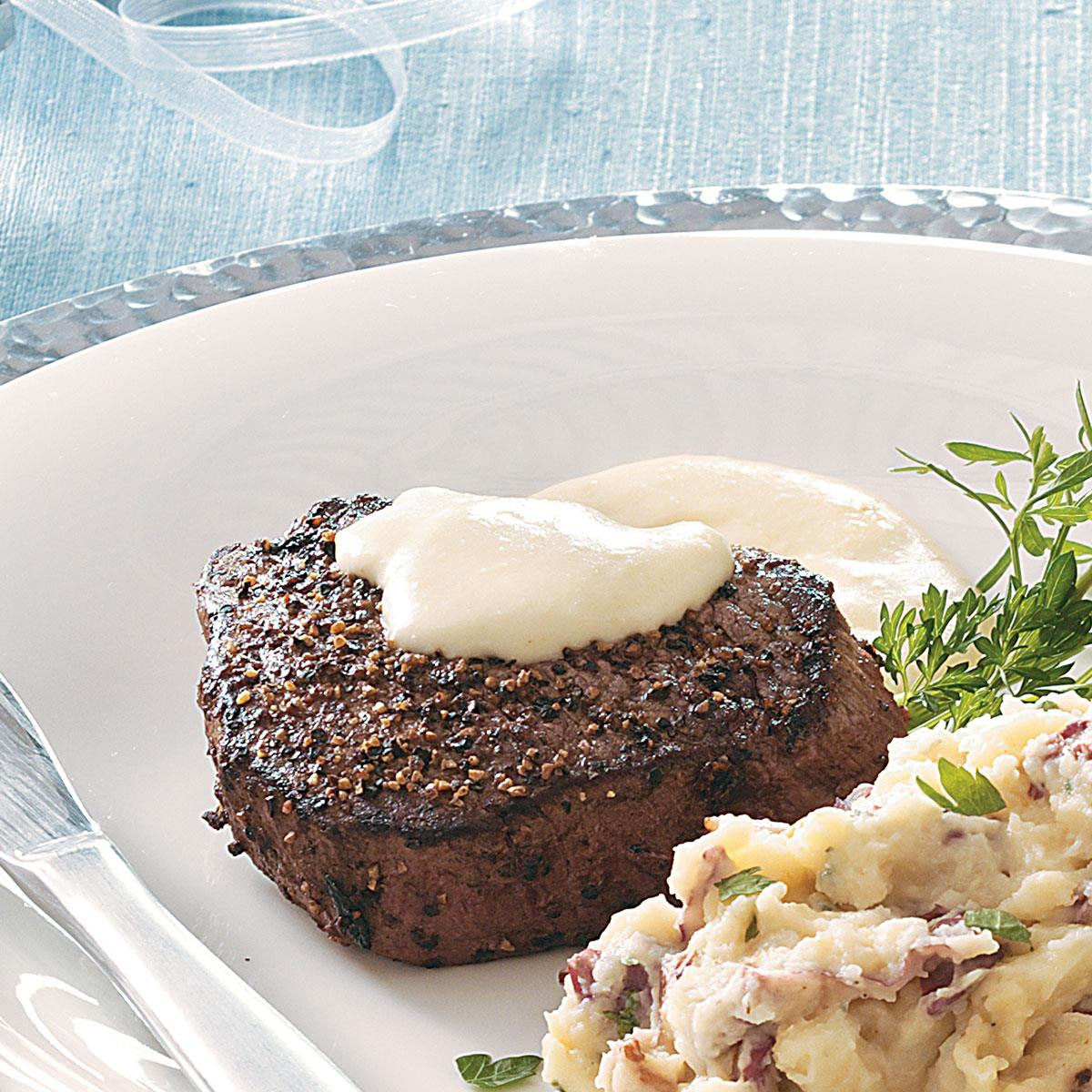 Peppered Filets With Horseradish Cream Sauce Recipe How To Make It Taste Of Home
