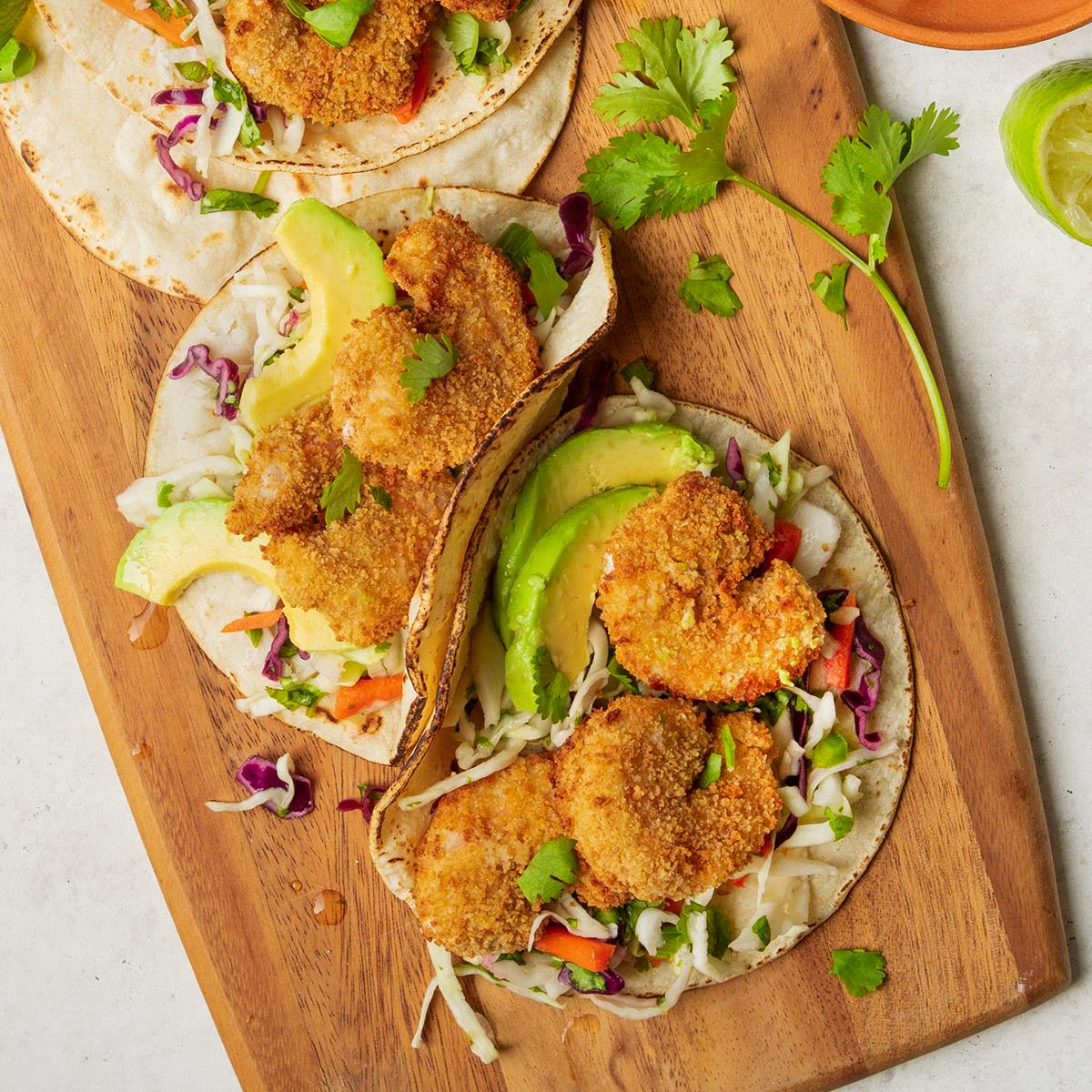 Popcorn Shrimp Tacos With Cabbage Slaw Recipe How To Make It Taste Of Home