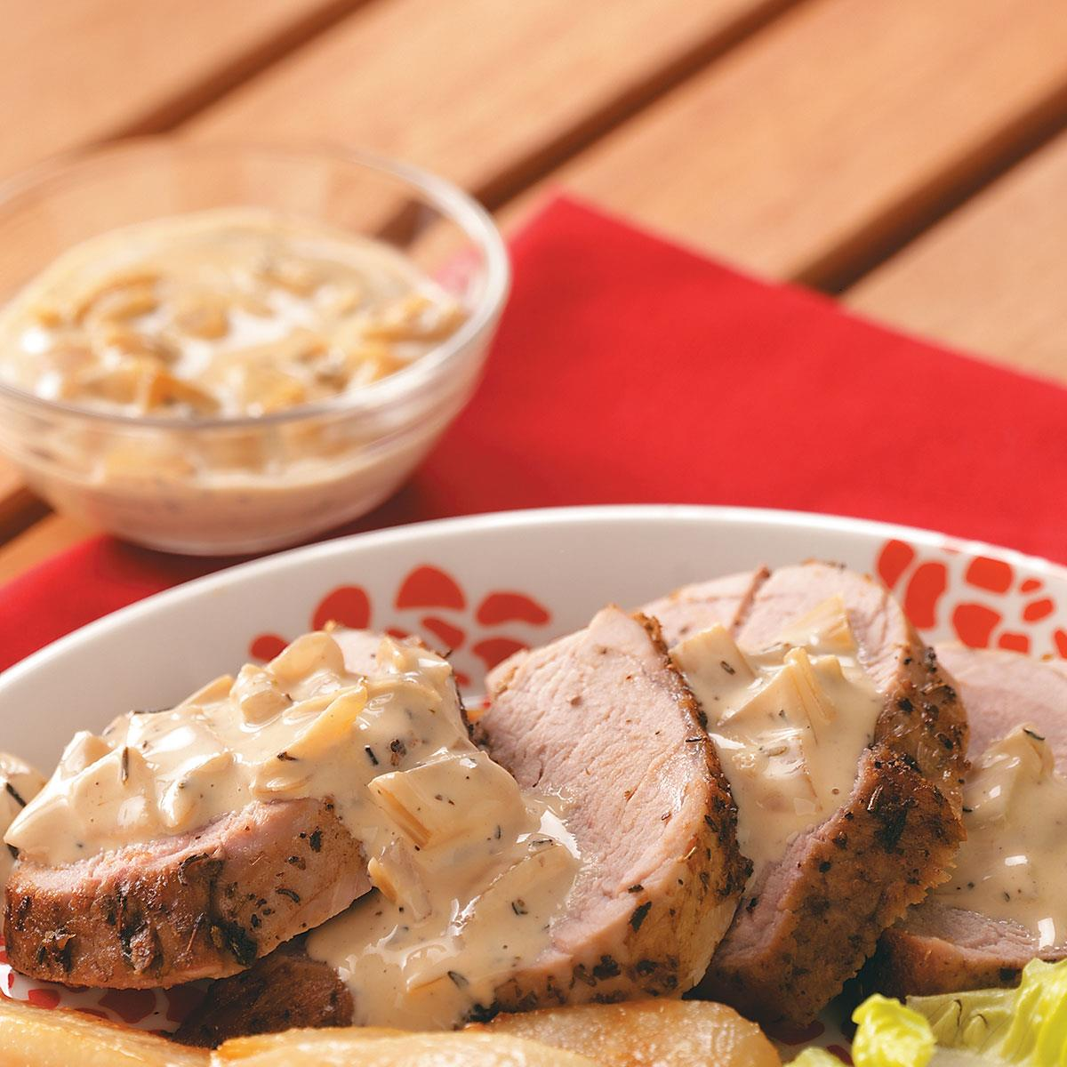 Pork Tenderloin With Pear Cream Sauce Recipe How To Make It Taste Of Home