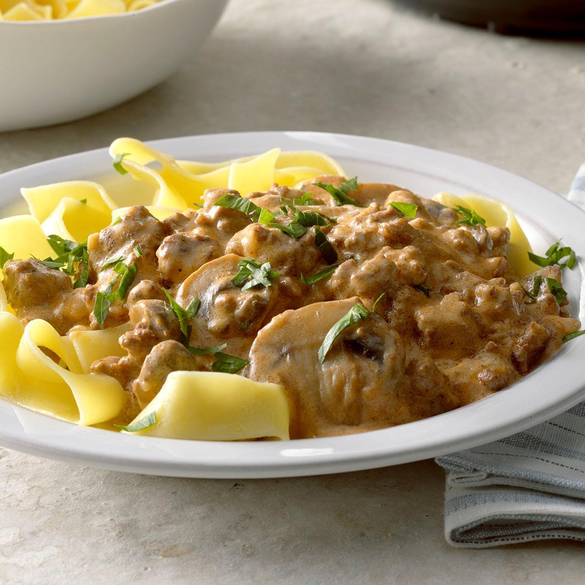 Pressure Cooker Ground Beef Stroganoff Recipe How To Make It Taste Of Home