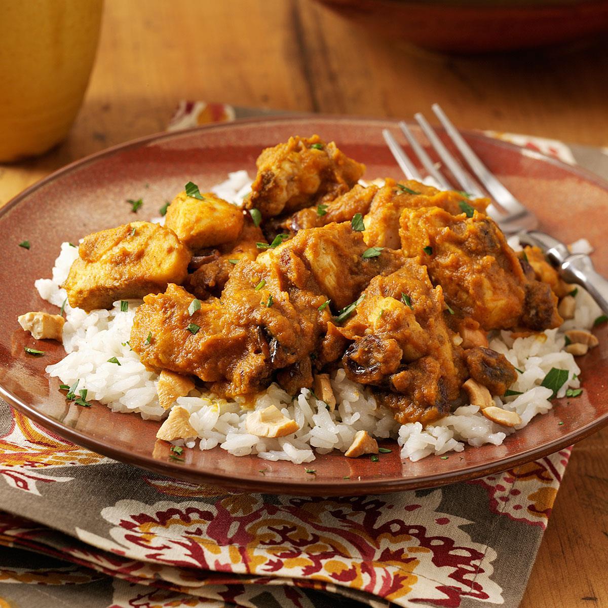 Pumpkin Curry Chicken Over Cashew Rice Recipe Taste Of Home