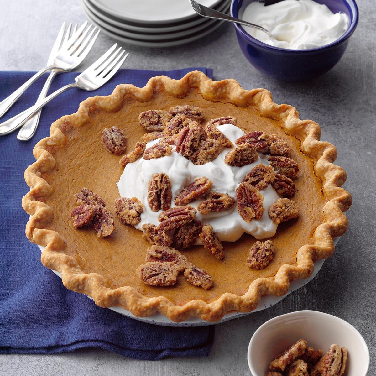 Pumpkin Sweet Potato Pie With Sugared Pecans Recipe Taste Of Home