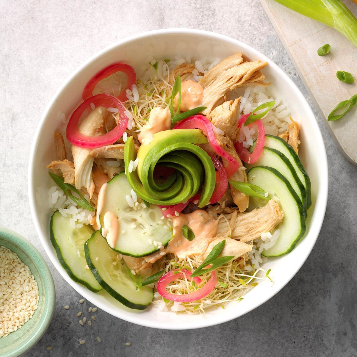 Quick And Easy Chicken Poke Bowl Recipe How To Make It Taste Of Home
