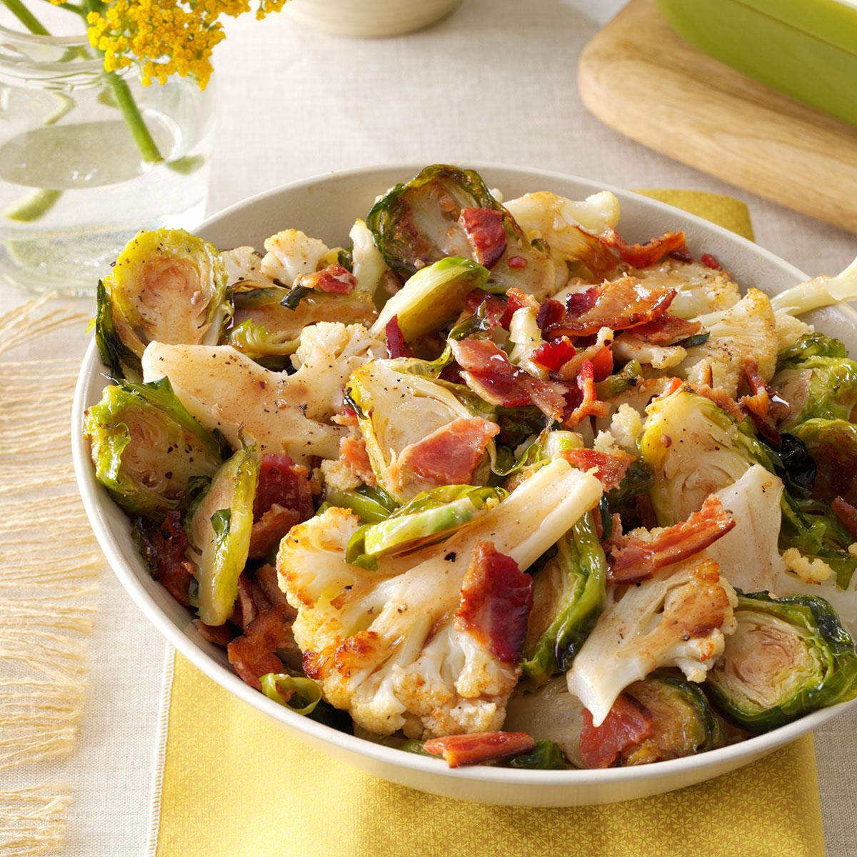 Roasted Cauliflower & Brussels Sprouts with Bacon