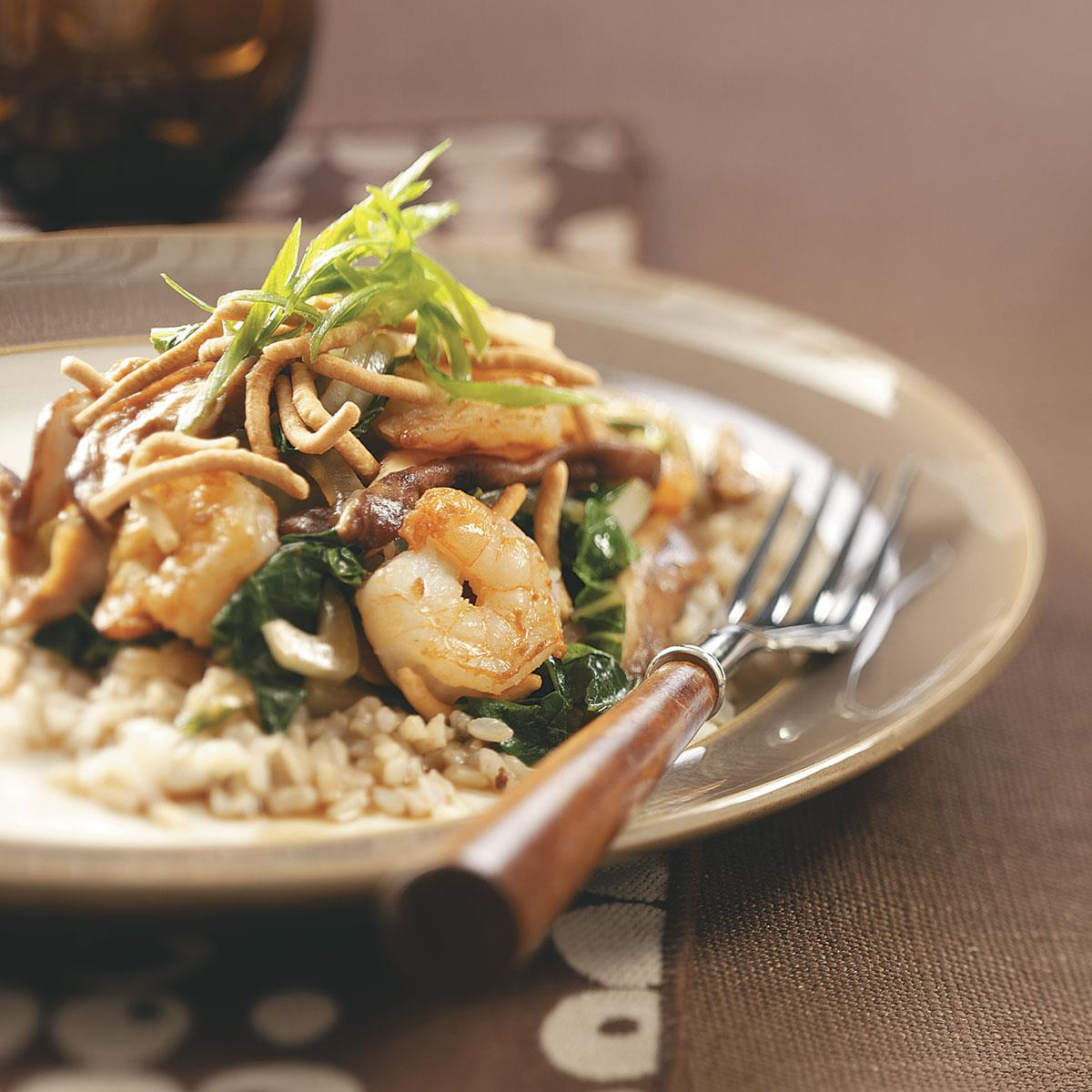 Shrimp & Shiitake Stir-Fry with Crispy Noodles