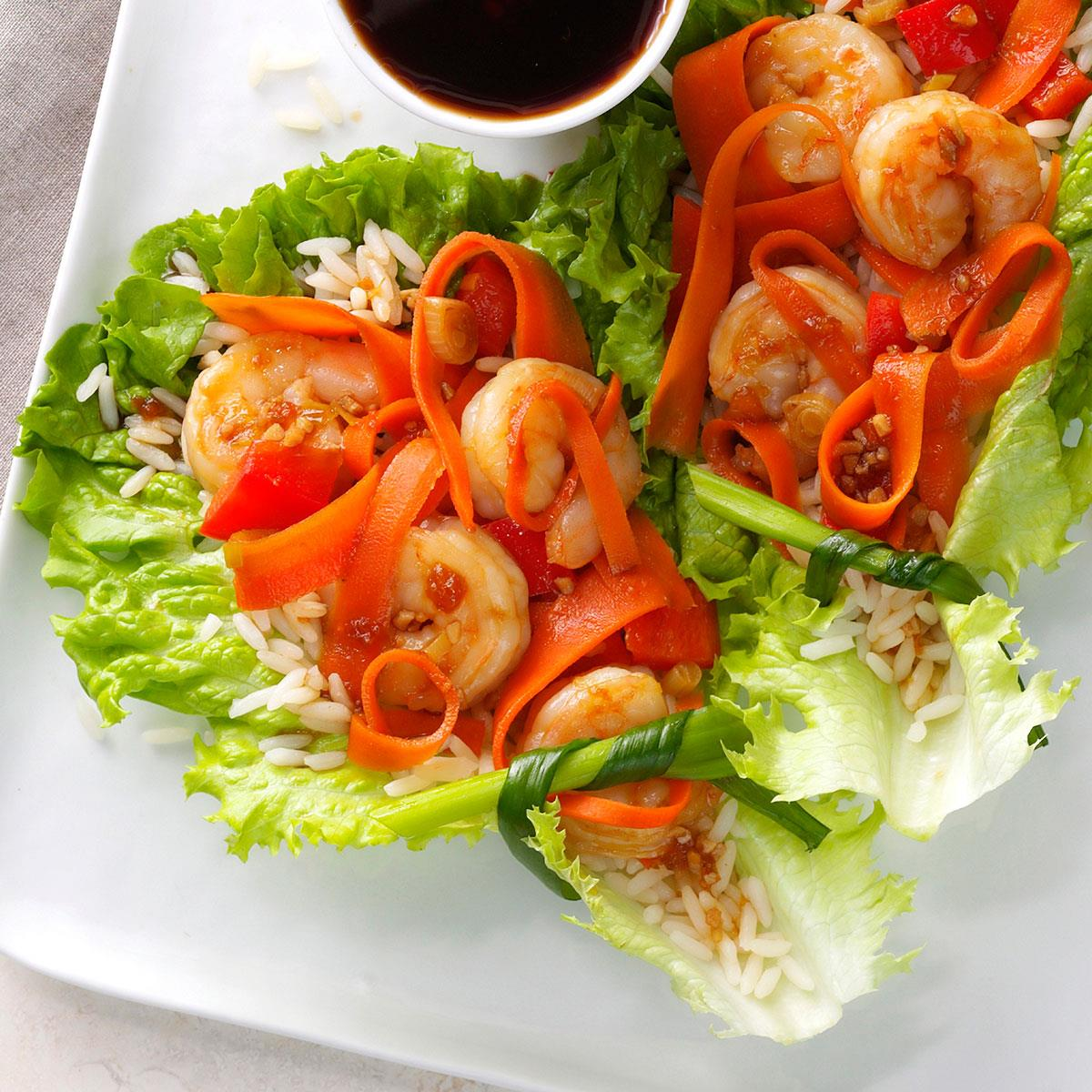 Shrimp Lettuce Wraps Recipe How To Make It Taste Of Home