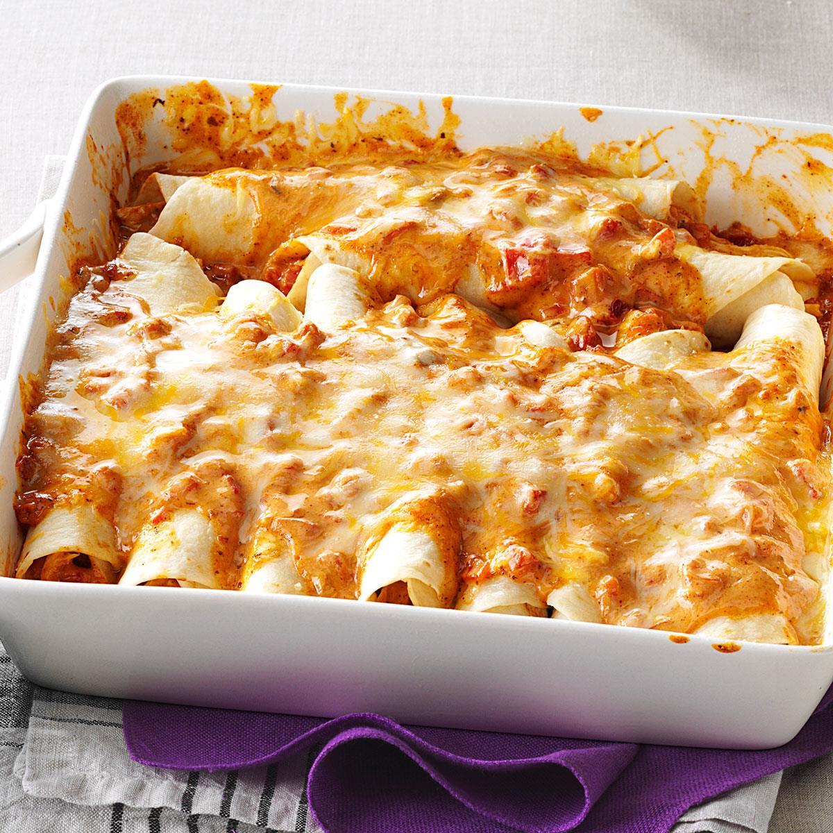 Simple Creamy Chicken Enchiladas Recipe How To Make It Taste Of Home