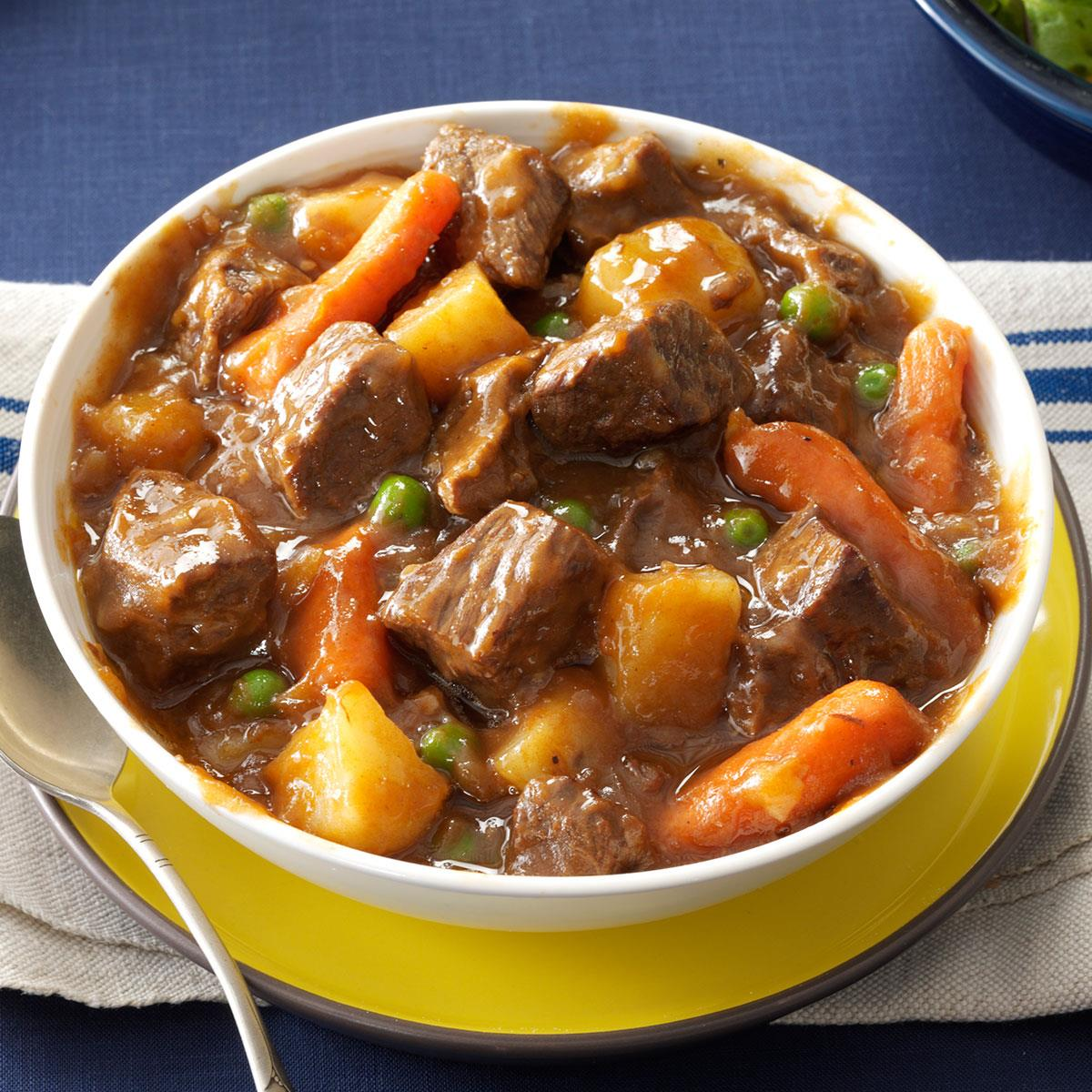 Slow Cooker Beef Vegetable Stew Recipe How To Make It Taste Of Home