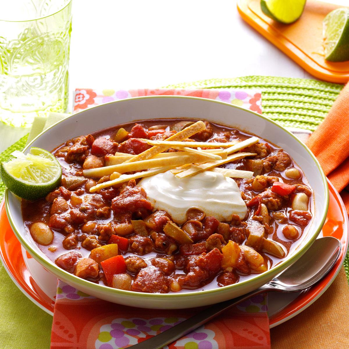 Slow Cooker Lime Chicken Chili Recipe How To Make It Taste Of Home