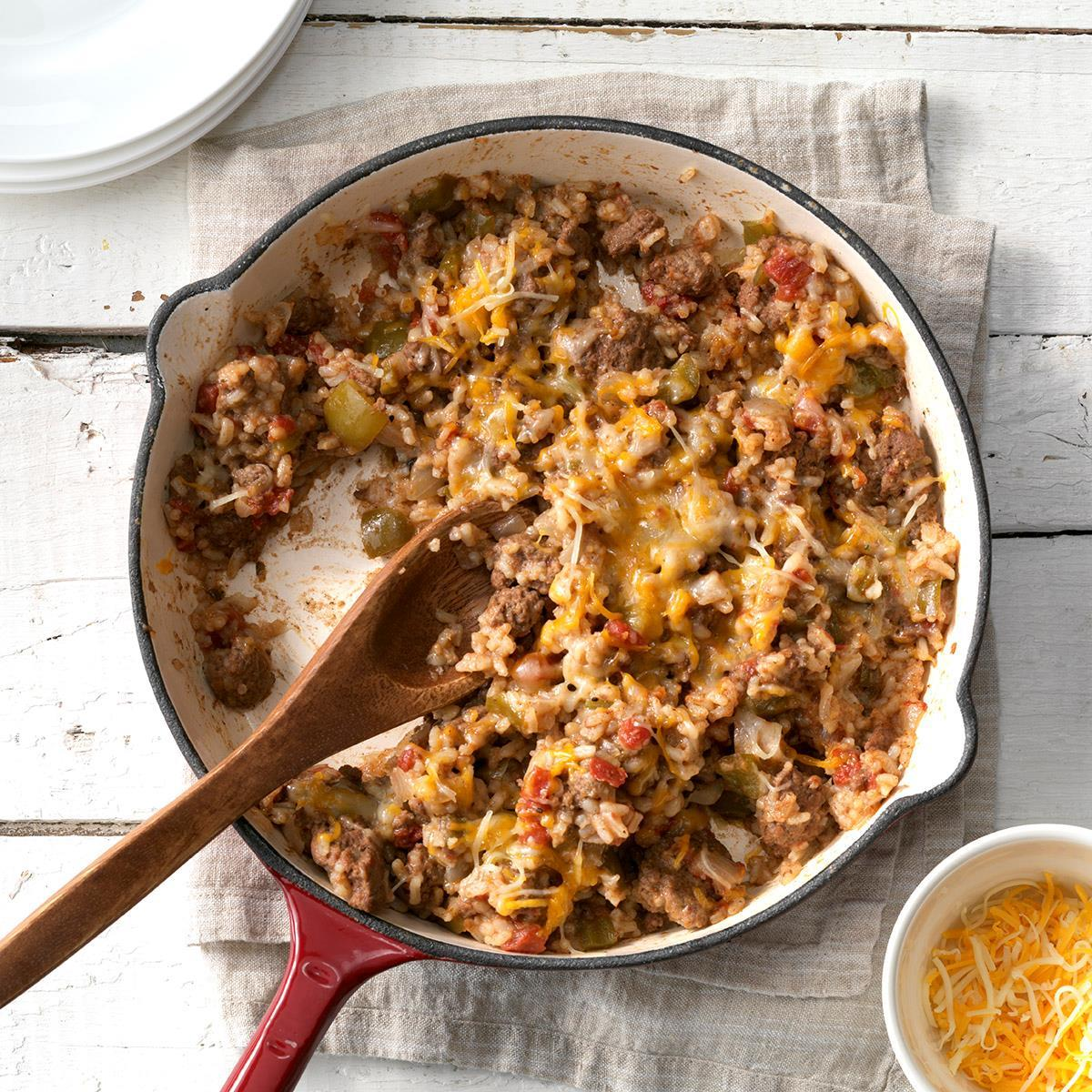 Southwestern Beef And Rice Skillet Recipe How To Make It Taste Of Home