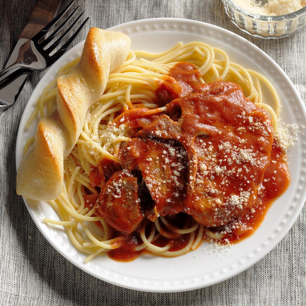 pork chop recipes spaghetti sauce Spaghetti Pork Chops