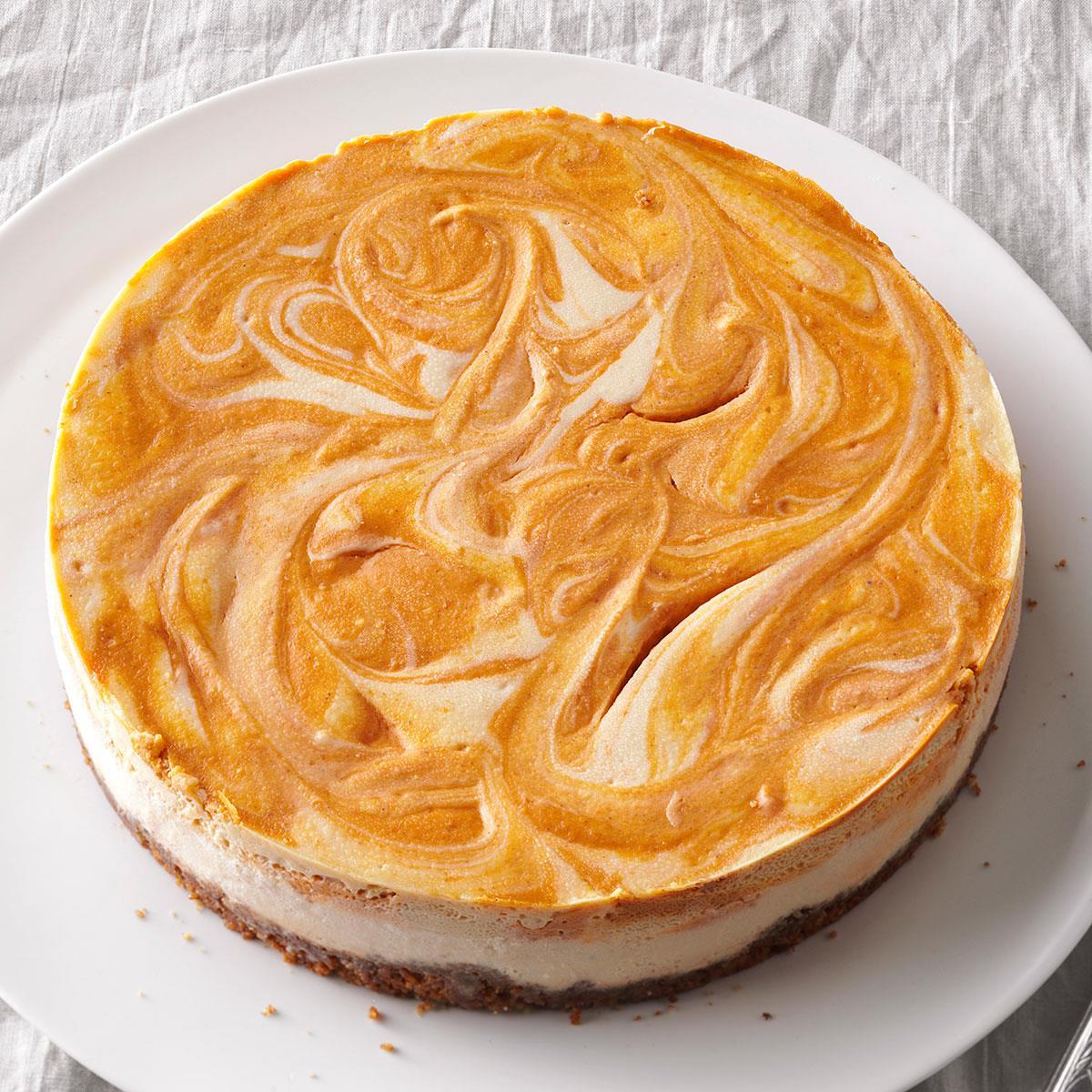 Spiced Pumpkin Swirl Cheesecake Recipe How To Make It Taste Of Home