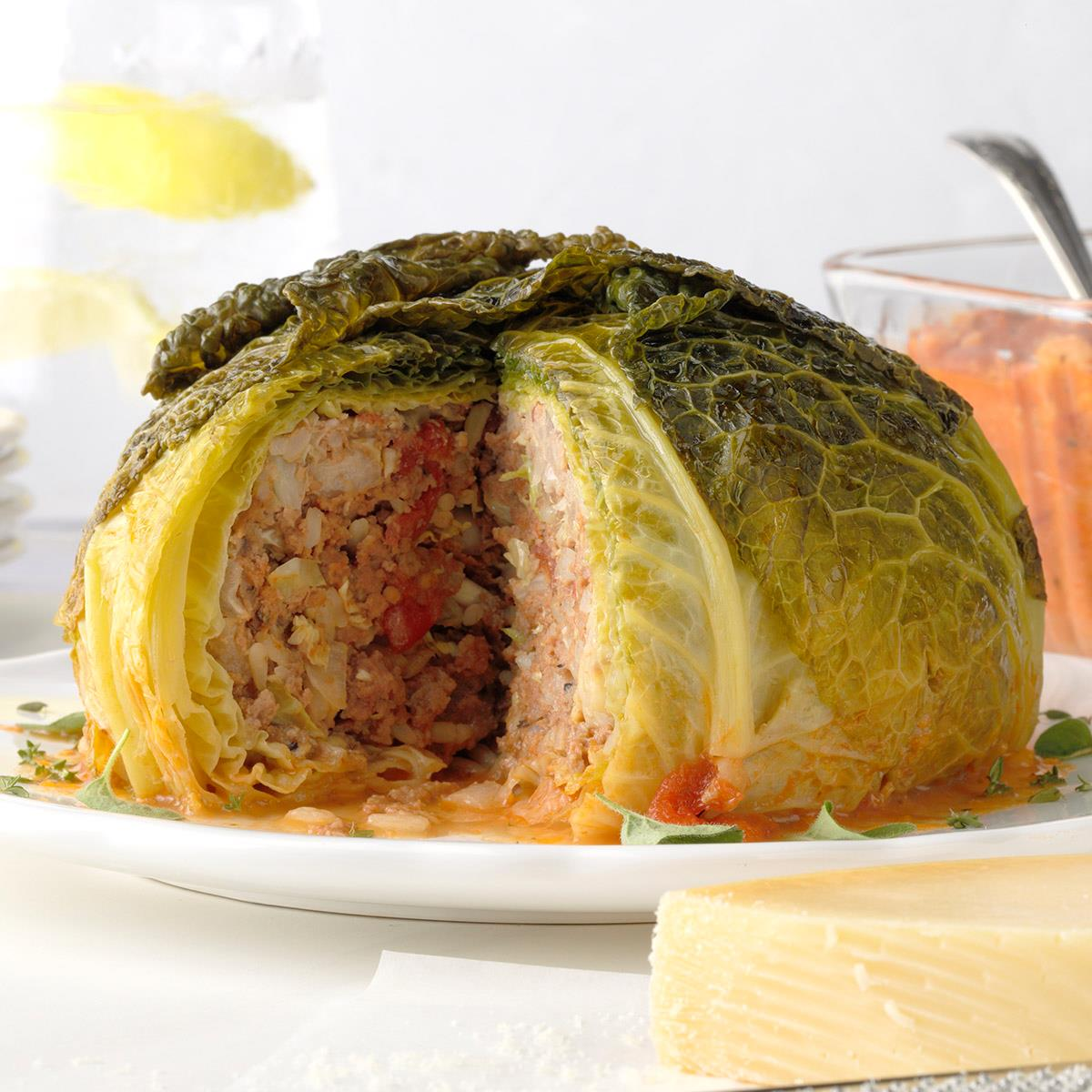 Stuffed Whole Cabbage Recipe How To Make It Taste Of Home