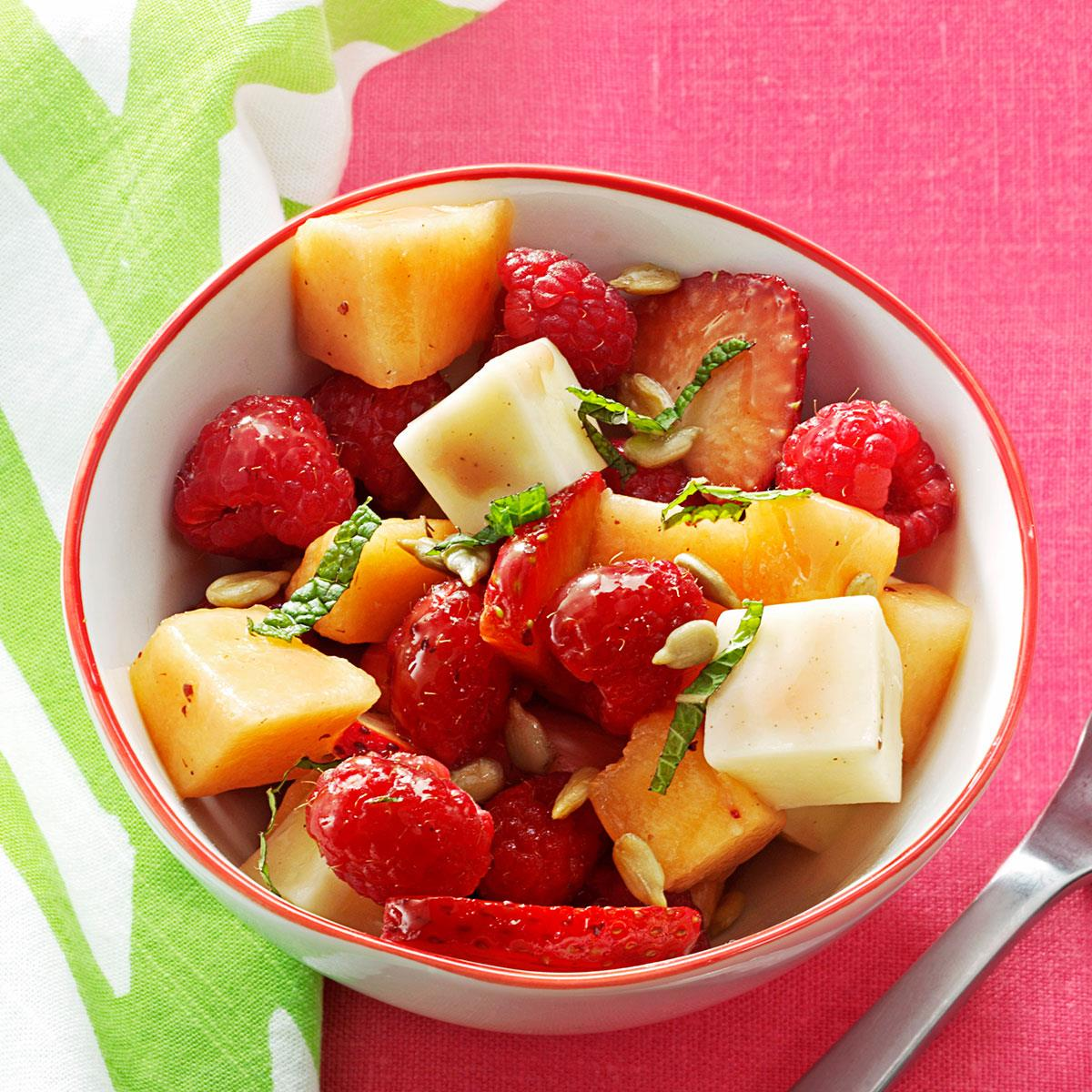 Sunny Strawberry Cantaloupe Salad Recipe Taste Of Home The nutrients that these melons contain may help preserve eye health, prevent asthma, and more. sunny strawberry cantaloupe salad