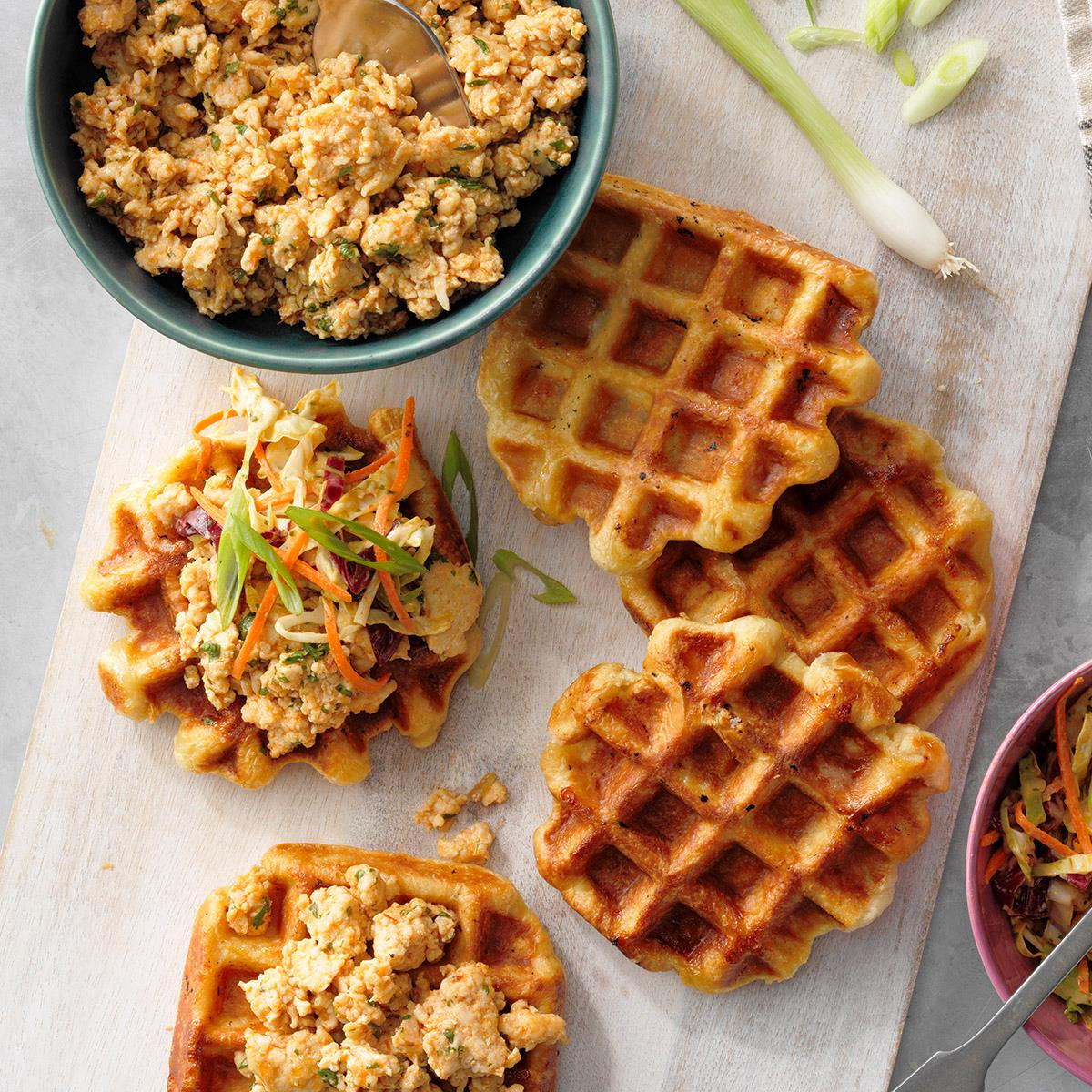 Peanut Cilantro Ground Chicken And Waffles Recipe How To Make It Taste Of Home