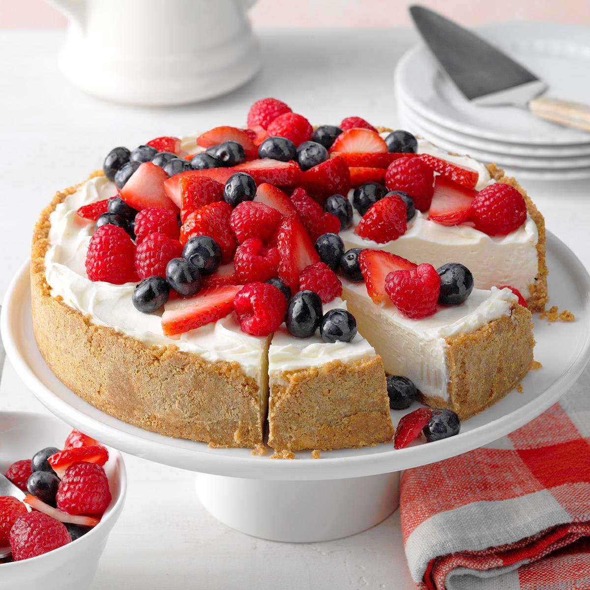 Triple Berry No-Bake Cheesecake Recipe | Taste of Home