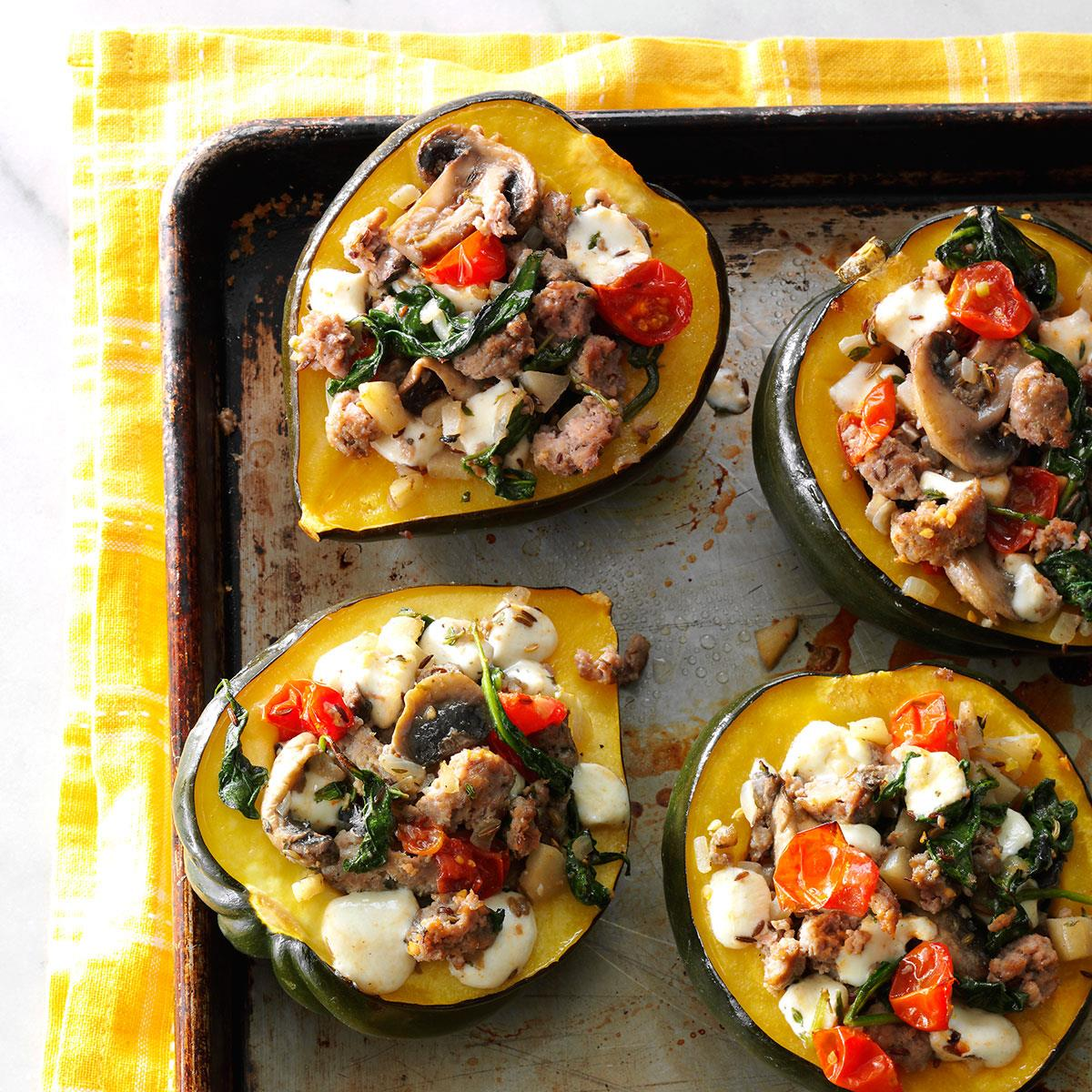 Turkey Sausage Stuffed Acorn Squash Recipe How To Make It Taste Of Home