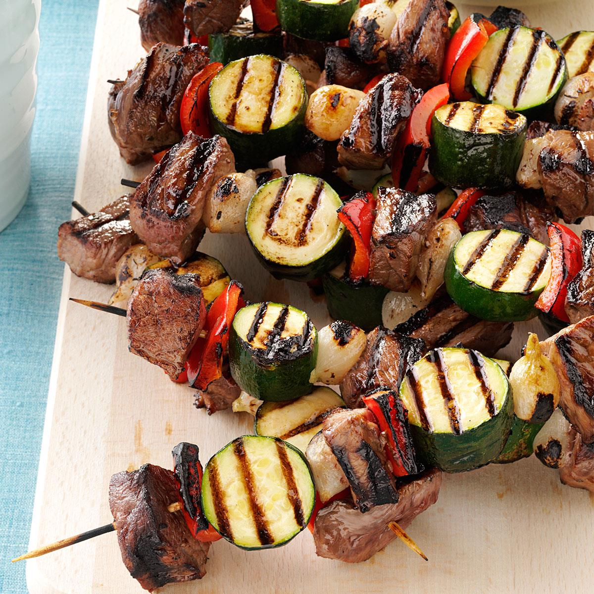 Vegetable Beef Kabobs Recipe How To Make It Taste Of Home