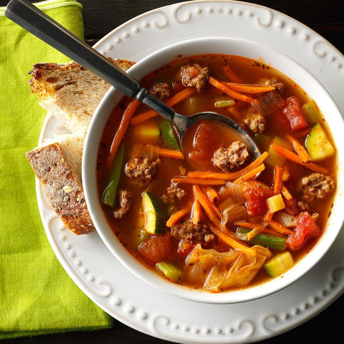 Garden Vegetable Beef Soup Recipe Taste Of Home