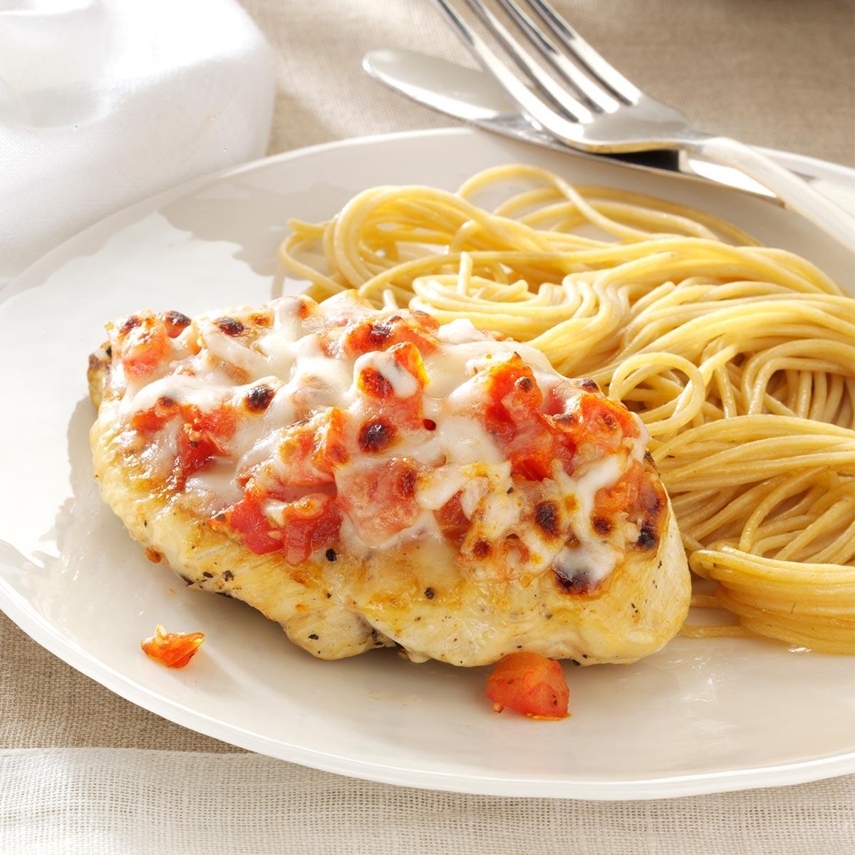 Bruschetta Topped Chicken Spaghetti Recipe How To Make It Taste Of Home